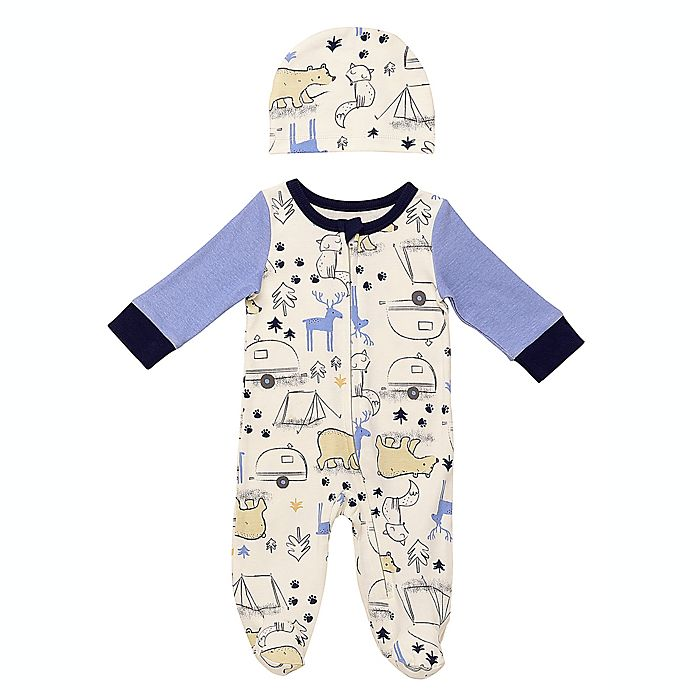 Alternate image 1 for Baby Starters® 2-Piece Never Stop Exploring Footie and Hat Set