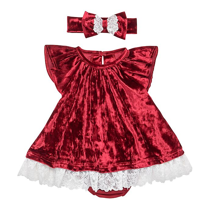 Alternate image 1 for Baby Starters® 3-Piece Lace Trim Dress, Headband and Diaper Cover Set in Red