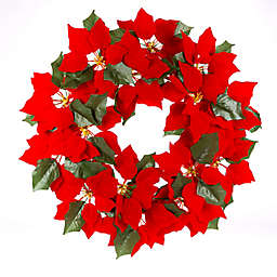 Gerson 24-Inch Pre-Lit Poinsettia Christmas Wreath in Red