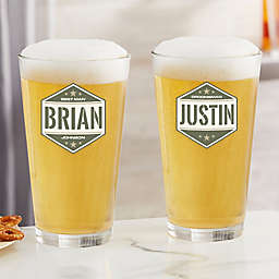 Five-Star Groomsmen Personalized 16 oz. Pint Glass