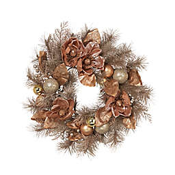 Gerson 24-Inch Decorated Frosted Christmas Wreath in Champagne