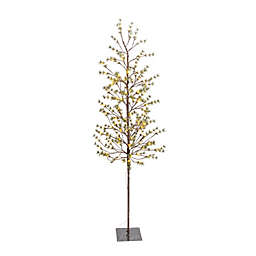 Gerson 6.89-Foot Pre-Lit Icy Pine Artificial Christmas Tree in Green/White