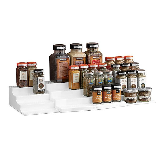 Alternate image 1 for YouCopia® SpiceSteps 3-Piece Expandable Spice Rack Set in White