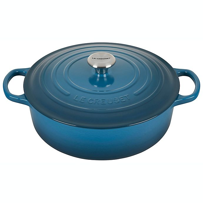 Alternate image 1 for Le Creuset® Signature 6.75 qt. Cast Iron Covered Wide Round Dutch Oven in Deep Teal