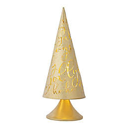 OIC Products 12-Inch Pre-Lit LED Cone Tabletop Christmas Tree in Gold