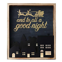 """""""To All a Good Night"""" 14.09-Inch x 16-Inch Christmas Wall Art in Blue/Black"""