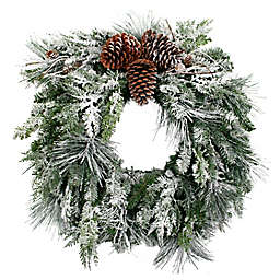 OIC Products 24-Inch Pre-Lit Snowfall Creek Christmas Wreath in White
