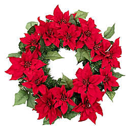 OIC Products 24-Inch Pre-Lit Christmas Poinsettia Holiday Wreath in Red