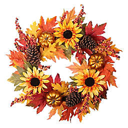 """Sunflower 24"""" Artificial Wreath in Yellow"""