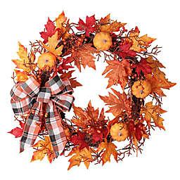 24-Inch Plaid Pre-Lit Halloween Wreath in Orange
