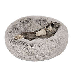 Friends Forever Coco Medium Faux Fur Calming Donut Cuddler Pet Bed in Grey