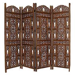 Tiny Bells Reversible 4-Panel Room Divider in Brown