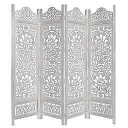 Lotus Carved 4-Panel Room Divider Screen in White