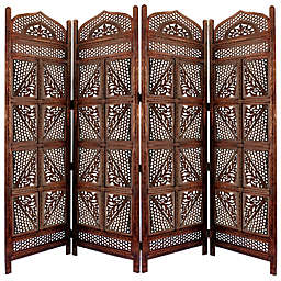 4-Panel Room Divider with Hand-Carved Details in Brown