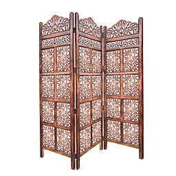 3-Panel Screen with Intricate Cutout in Brown
