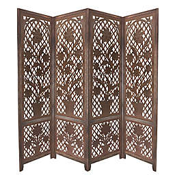 Floral Carved Foldable 4-Panel Screen in Brown