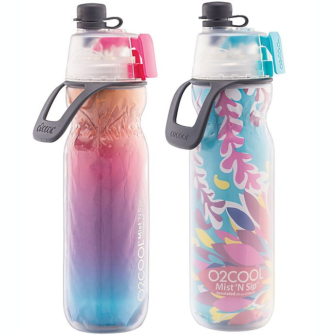 Alternate image 1 for O2COOL® Mist N' Sip 2-Pack 20 oz. Water Bottles in Ombre Raspberry/Tropical
