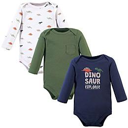 Hudson Baby® 3-Pack Dinosaur Cotton Long Sleeve Bodysuits