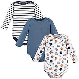 Hudson Baby® 3-Pack Basic Sport Long Sleeve Bodysuits in Blue