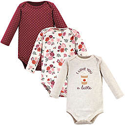 Hudson Baby® Size 0-3M 3-Pack Long Sleeve Bodysuits in Pumpkin Spice