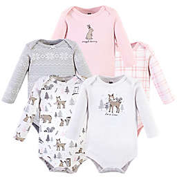 Hudson Baby® 3-Pack Long Sleeve Bodysuits in Pink Winter