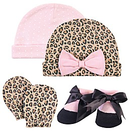 Hudson Baby® Size 0-6M 4-Piece Leopard Cap, Scratch Mitten and Sock Set in Pink