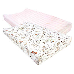 Hudson Baby® 2-Pack Forest Changing Pad Covers in Pink