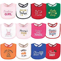 Hudson Baby® 12-Pack Girl Holiday Bibs