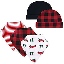 Hudson Baby® 5-Piece Tree Bib and Cap Set in Red