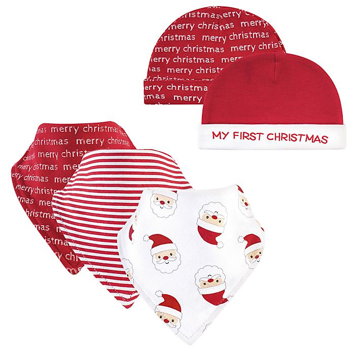 Alternate image 1 for Hudson Baby® 5-Piece Santa Bib and Cap Set in Red