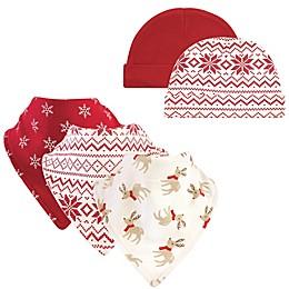 Hudson Baby® 5-Piece Reindeer Bib and Cap Set in Red
