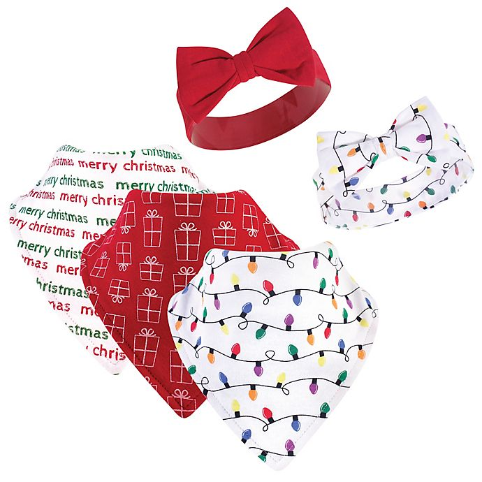 Alternate image 1 for Hudson Baby® 5-Piece Lights Bib and Headband Set in Red