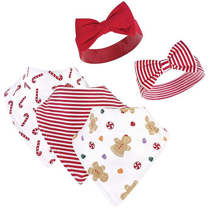Alternate image 1 for Hudson Baby® 5-Piece Sugar Bib and Headband Set in Red