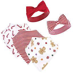 Hudson Baby® 5-Piece Sugar Bib and Headband Set in Red