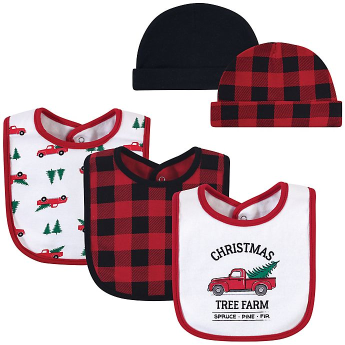 Alternate image 1 for Hudson Baby® 5-Piece Tree Farm Bib and Cap Set in Red