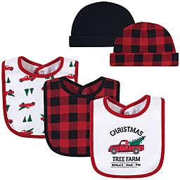 Hudson Baby® 5-Piece Tree Farm Bib and Cap Set in Red