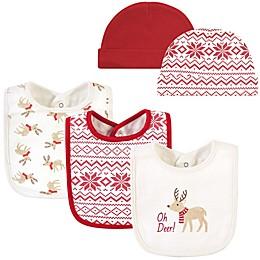 Hudson Baby® 5-Piece Oh Deer Bib and Cap Set in Red