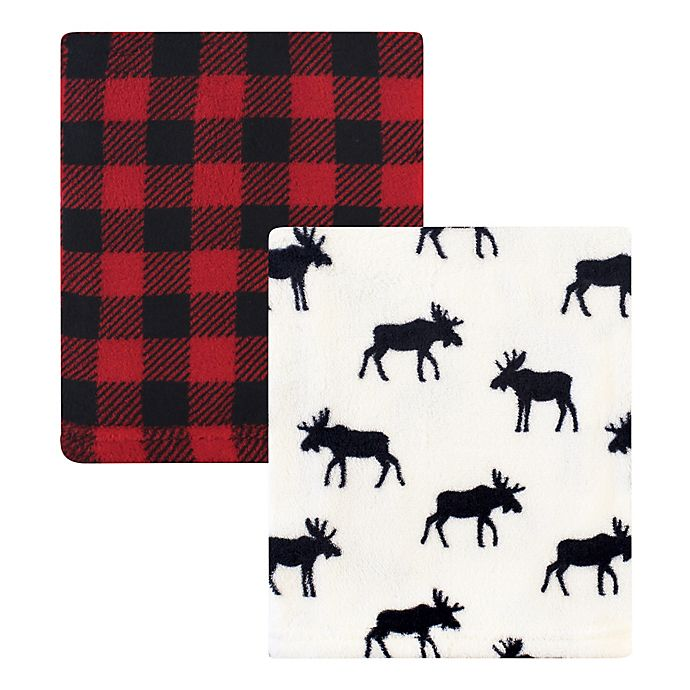 Alternate image 1 for Hudson Baby® 2-Pack Moose Fleece Blankets in Red