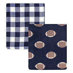 Hudson Baby® 2-Pack Football Fleece Blankets in Blue