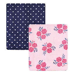 Hudson Baby® 2-Pack Roses Coral Fleece Plush Blankets in Pink