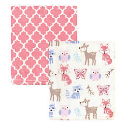 Hudson Baby® 2-Pack Woodland Fleece Blankets in Pink