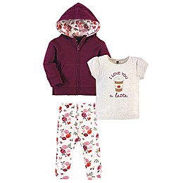 Hudson Baby® 3-Piece Fall Floral Hoodie, Shirt and Pants Set in Pink