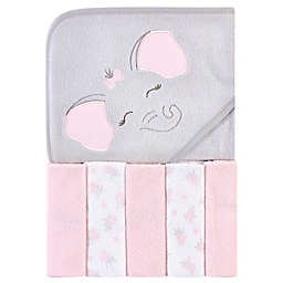 Hudson Baby® Elephant 6-Piece Hooded Towel & Washcloths Set in Pink