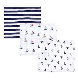 Hudson Baby® 3-Pack Sailboat Cotton Muslin Baby Blankets in Blue