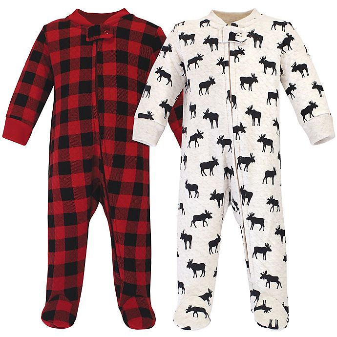 Alternate image 1 for Hudson Baby® 2-Piece Moose Quilted Footies in Black/Red