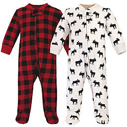 Hudson Baby® 2-Piece Moose Quilted Footies in Black/Red
