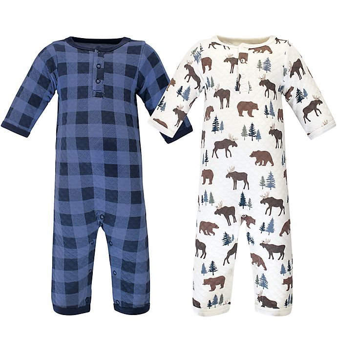 Alternate image 1 for Hudson Baby® 2-Pack Quilted Long Sleeve Coveralls