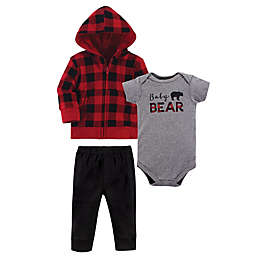 "Little Treasure Size 0-3M 3-Piece ""Baby Bear"" Hoodie, Bodysuit and Pant Set in Red"