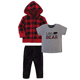 """Little Treasure SIze 5T 3-Piece """"Baby Bear"""" Hoodie, Bodysuit and Pant Set in Red"""