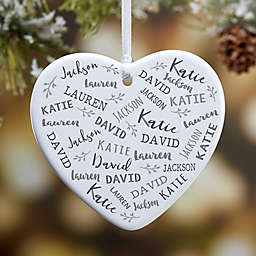 Farmhouse Heart 3.25-Inch Glossy Porcelain Christmas Ornament in White